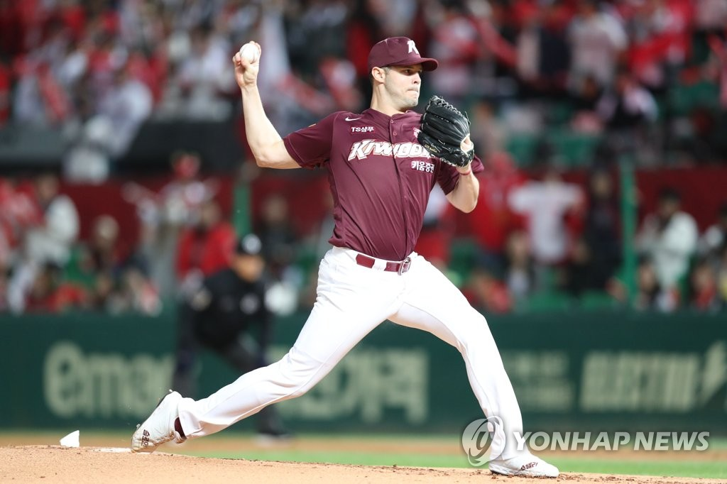 In this file photo from Oct. 14, 2019, Jake Brigham of the Kiwoom Heroes throws a pitch against the SK Wyverns in the bottom of the first inning of Game 1 of the second-round Korea Baseball Organization (KBO) playoff series at SK Happy Dream Park in Incheon, 40 kilometers west of Seoul. (Yonhap)