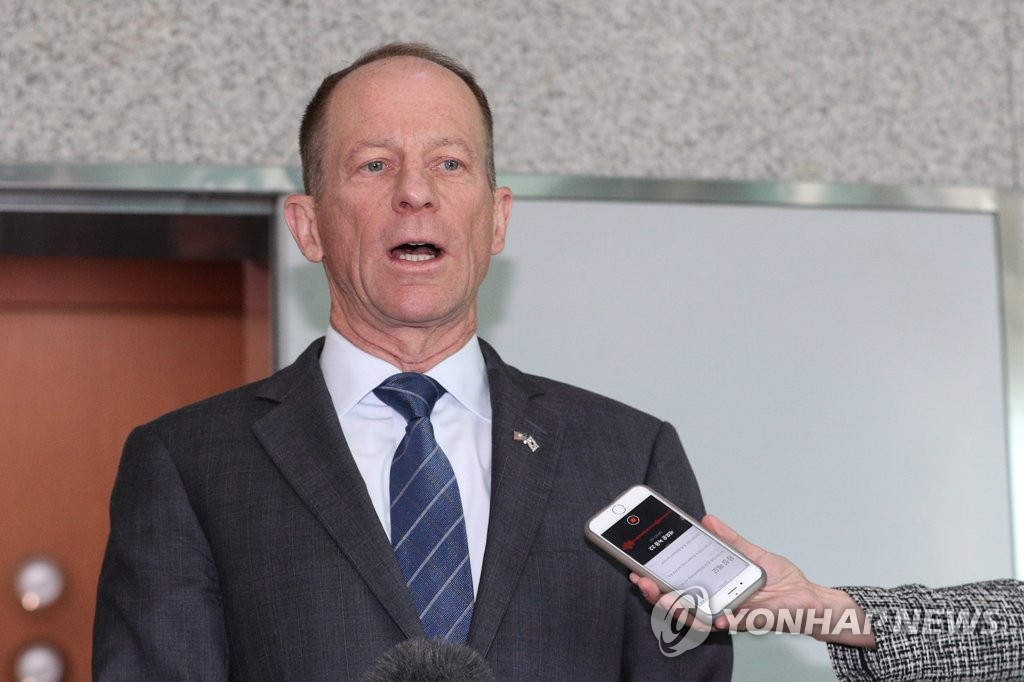 U.S. Assistant Secretary of State David Stilwell speaks to reporters after his courtesy calls on Foreign Minister Kang Kyung-wha and Vice Foreign Minister Cho Sei-young at the foreign ministry in Seoul on Nov. 6, 2019. (Yonhap)