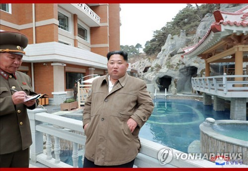 NK leader inspects hot spring resort under construction