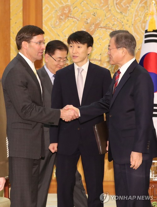 (3rd LD) Esper says U.S. to nudge Japan to resolve GSOMIA issue: Cheong Wa Dae