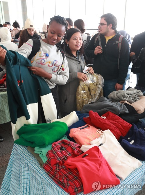 Donated winter clothes for foreign students