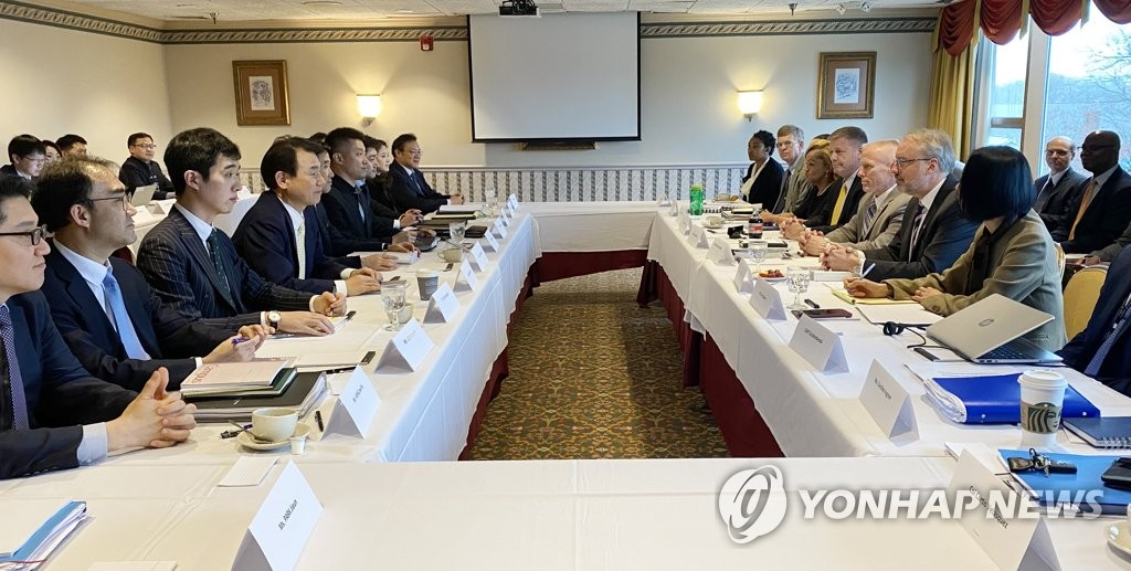 South Korean and U.S. officials hold their sixth-round talks in Washington on Jan. 14, 2020, on the sharing of the costs for the upkeep of 28,500 U.S. troops in South Korea, in this photo provided by Seoul's foreign ministry. (PHOTO NOT FOR SALE) (Yonhap)