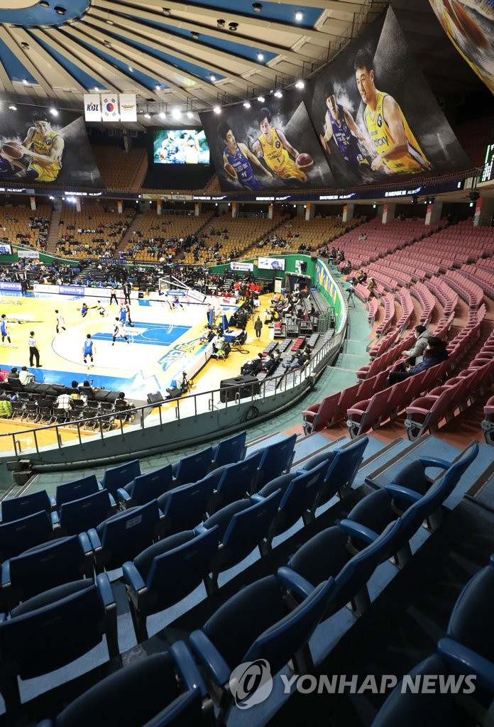 Empty seats at basketball game