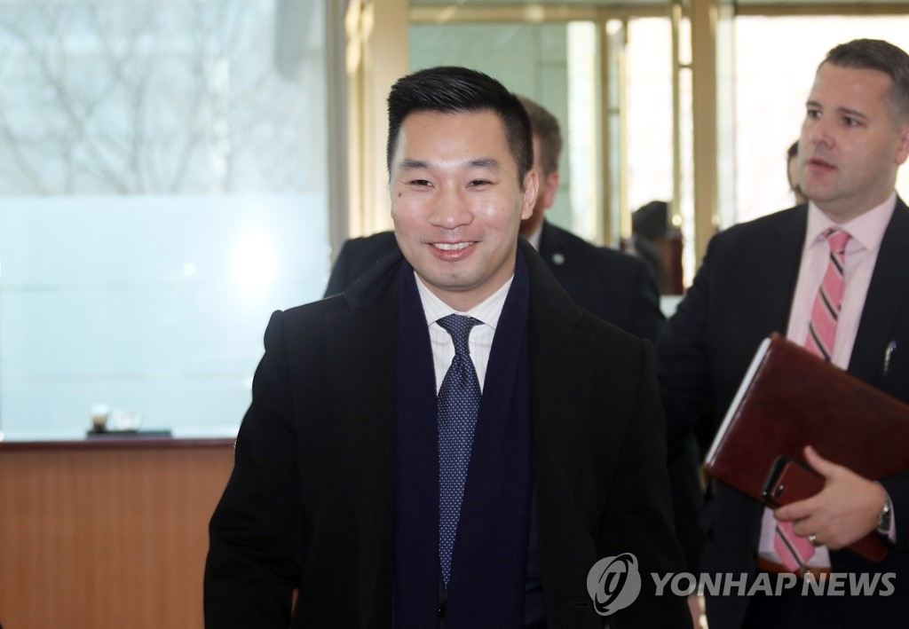 U.S. Deputy Special Representative for North Korea Alex Wong arrives at the foreign ministry in Seoul on Feb. 11, 2020. (Yonhap)