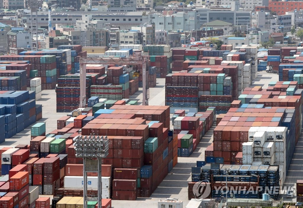 The photo, taken May 1, 2020, shows stacks of import-export cargo at South Korea's largest seaport in Busan, located some 450 kilometers south of Seoul. (Yonhap)