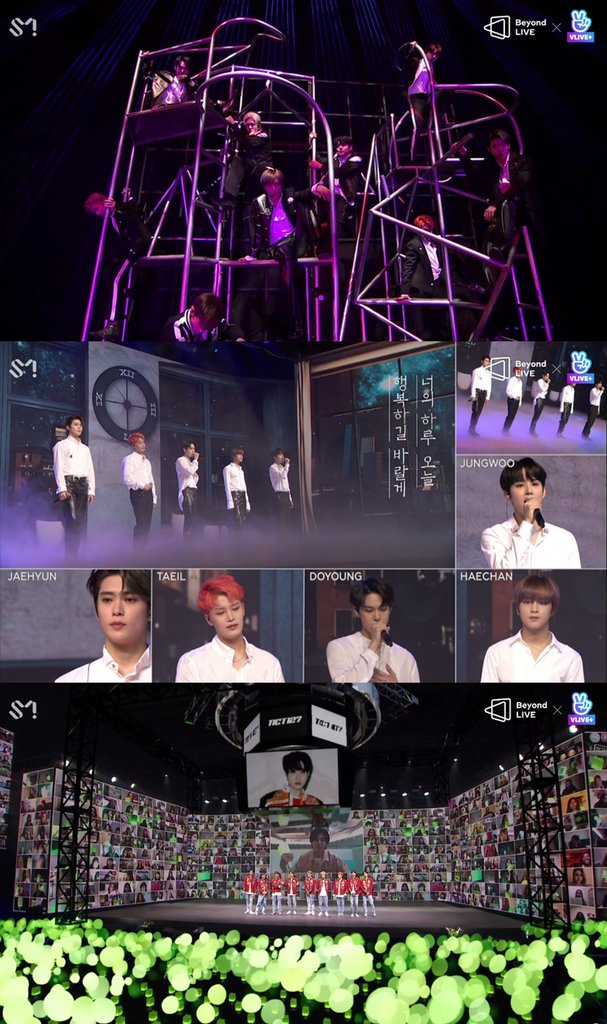 "This photo, provided by SM Entertainment, shows K-pop boy band NCT 127 performing in an online concert ""NCT 127 - Beyond the Origin"" on May 18, 2020. (PHOTO NOT FOR SALE)(Yonhap)"