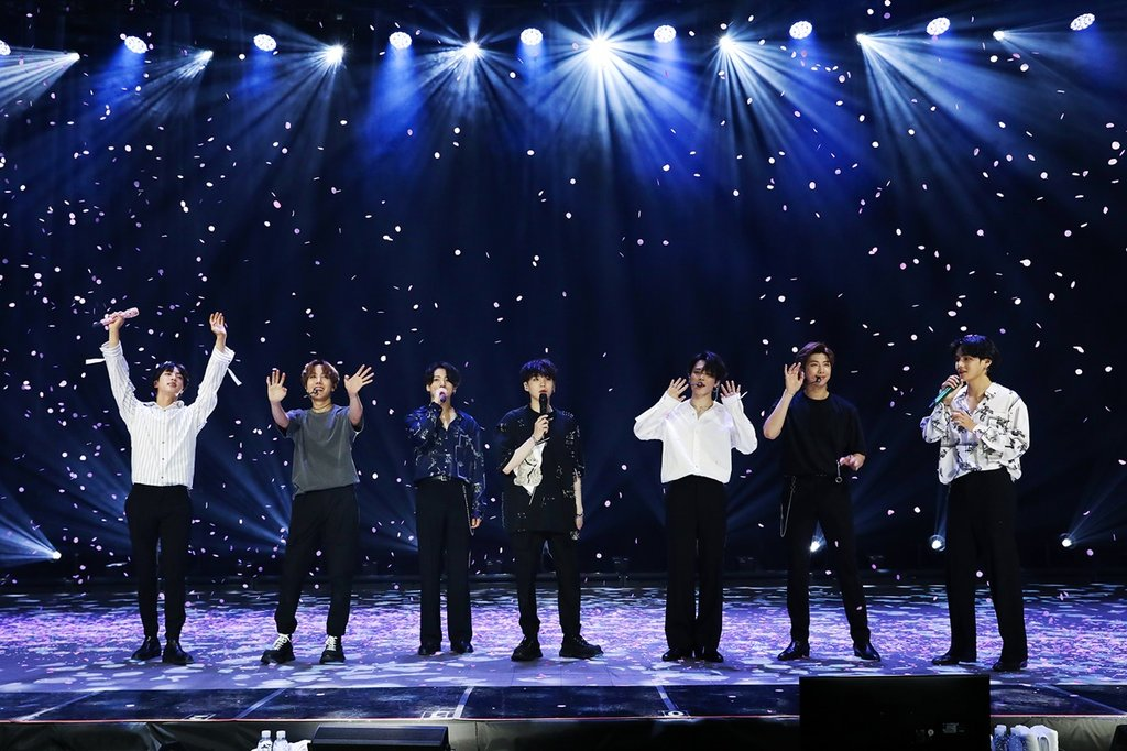 "This photo provided by Big Hit Entertainment shows a scene from the 90-minute online concert ""Bang Bang Con: The Live"" hosted by BTS on June 14, 2020. (PHOTO NOT FOR SALE) (Yonhap)"