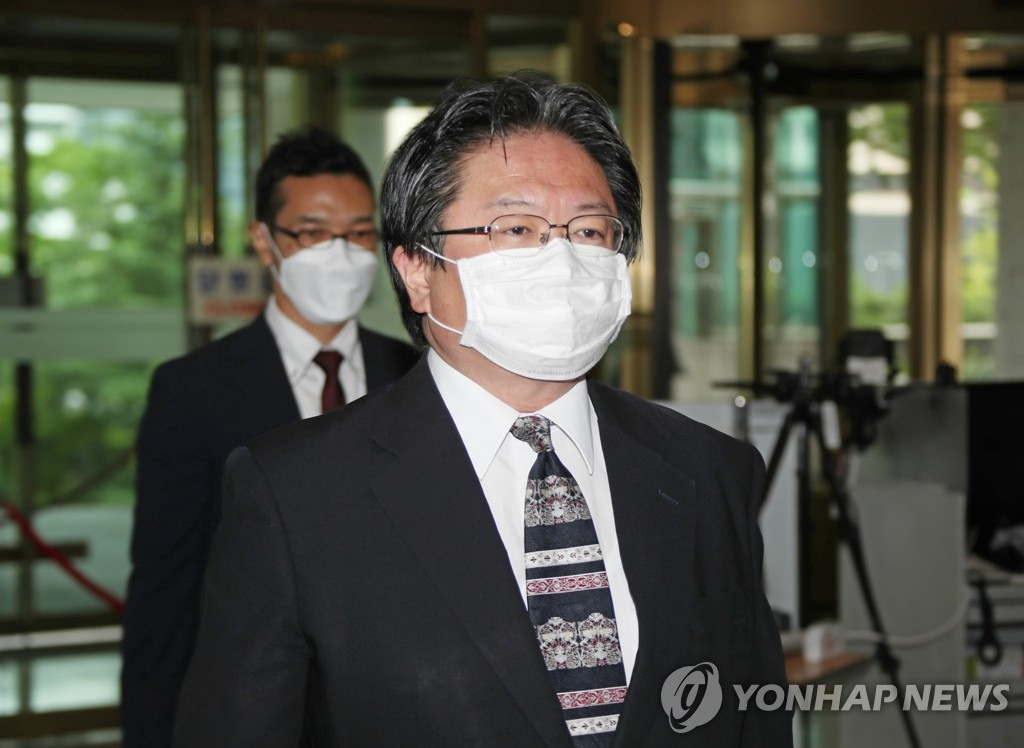 Hirohisa Soma, a senior diplomat from the Japanese Embassy in Seoul, arrives at Seoul's foreign ministry on July 14, 2020, after being called in over Japan's renewed territorial claims to South Korea's easternmost islets of Dokdo in its latest defense white paper. (Yonhap)