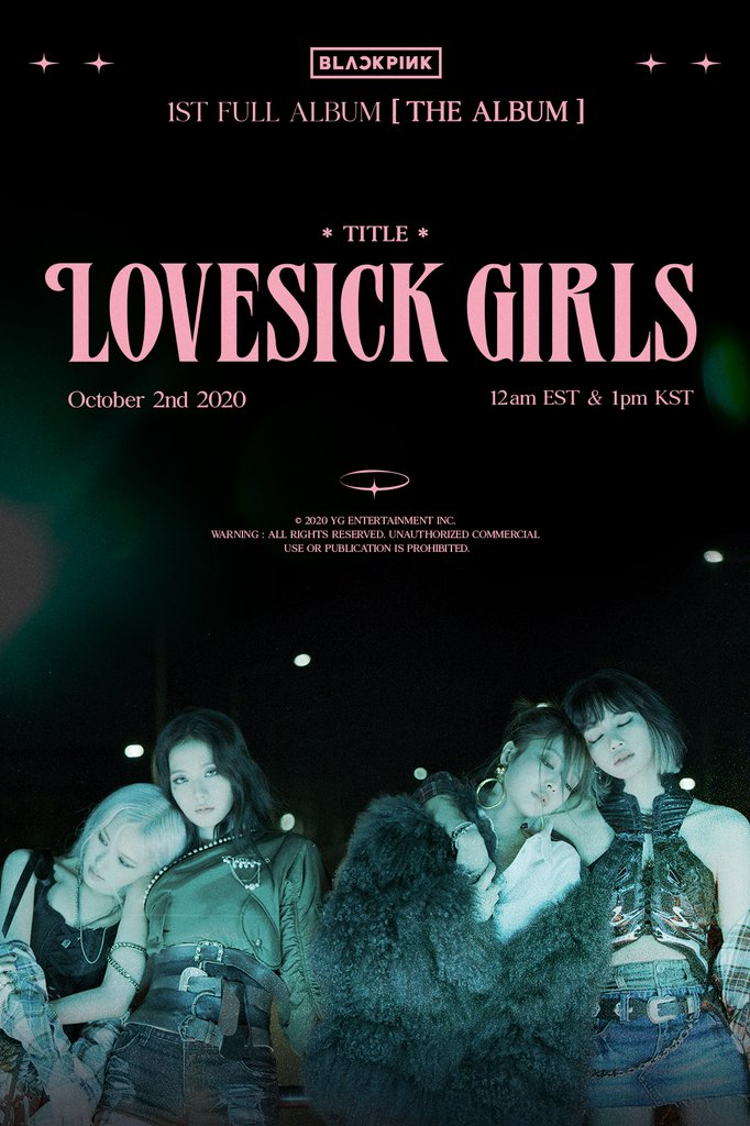 "This image, provided by YG Entertainment, shows a promotional image for the song ""Lovesick Girls,"" the main track in the quartet's first full-length album ""The Album."" (PHOTO NOT FOR SALE) (Yonhap)"