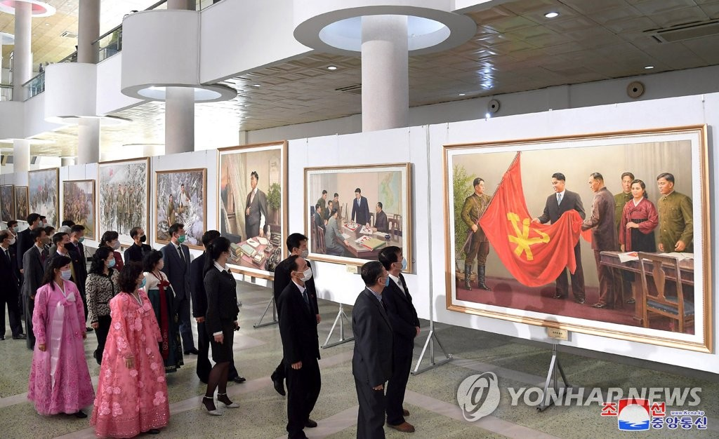 This photo, released by the Korean Central News Agency, shows a national art exhibition that opened at the Okryu Exhibition Hall in Pyongyang on Oct. 5, 2020, to celebrate the 75th founding anniversary of the ruling Workers' Party. (For Use Only in the Republic of Korea. No Redistribution) (Yonhap)