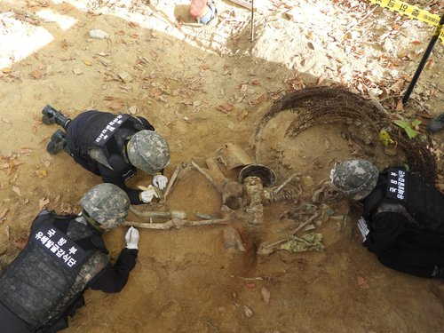 Excavation of Korean War soldiers' remains