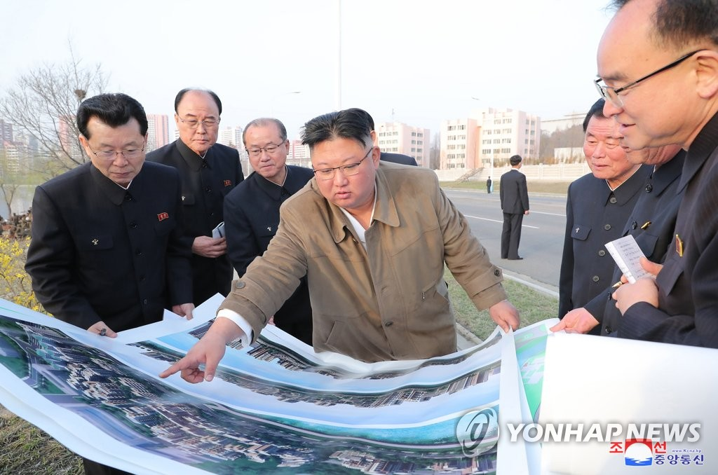 N.K. leader inspects construction site again