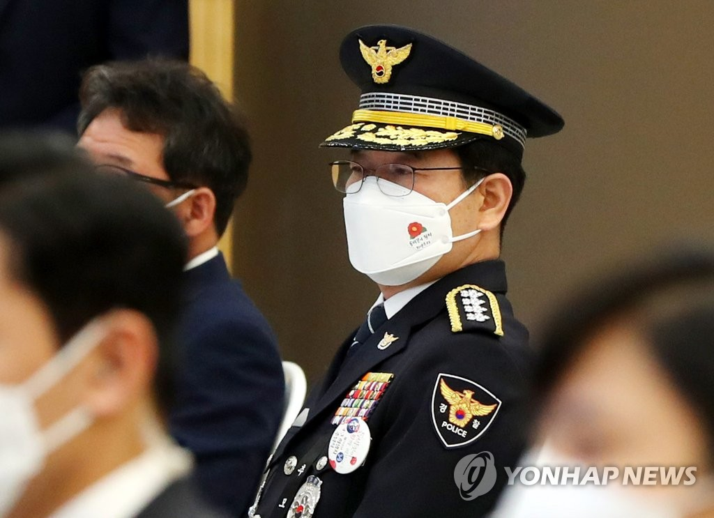 Police Commissioner-General Kim Chang-yong attends a memorial ceremony for the Jeju April 3 incident held on the southern island of Jeju on April 3, 2021. (Yonhap)