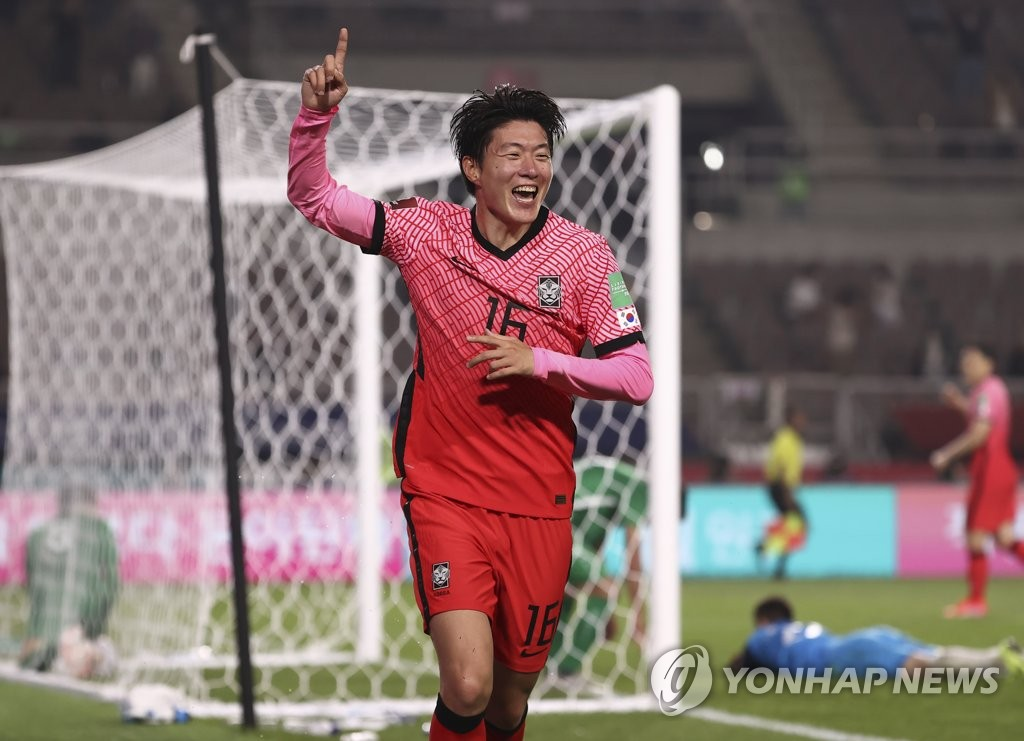 In this file photo from June 5, 2021, Hwang Ui-jo of South Korea celebrates his goal against Turkmenistan during the teams' Group H match in the second round of the Asian qualification for the 2022 FIFA World Cup at Goyang Stadium in Goyang, Gyeonggi Province. (Yonhap)