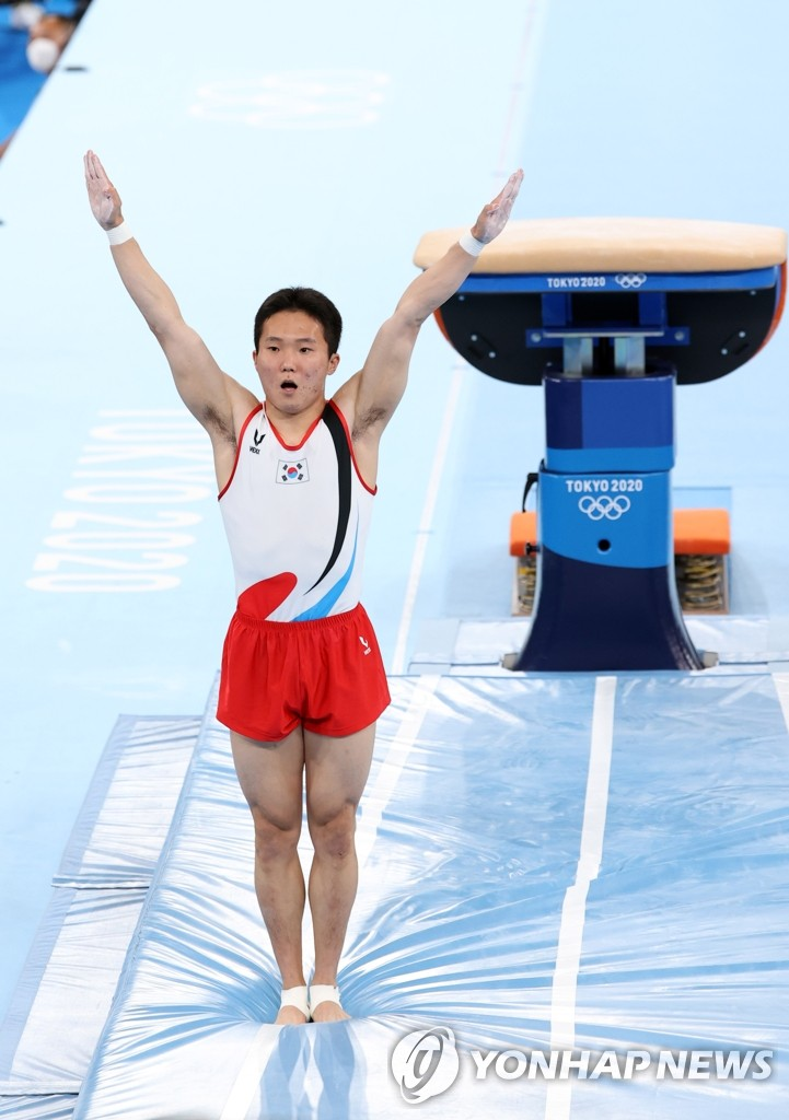 Shin Jea-hwan of South Korea performs in the men's vault final at the Tokyo Olympics at Ariake Gymnastics Centre in Tokyo on Aug. 2, 2021. (Yonhap)